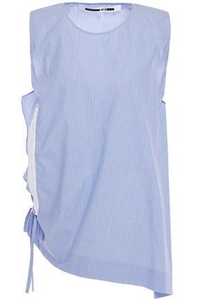 McQ Alexander McQueen Asymmetric ruched striped cotton-poplin top