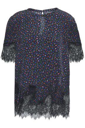 McQ Alexander McQueen Lace-paneled floral-print silk crepe de chine top