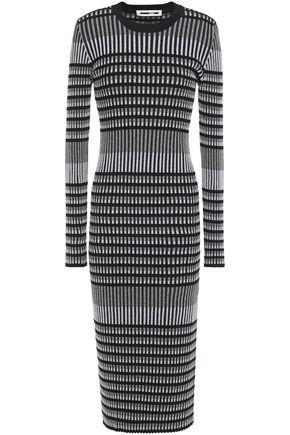 McQ Alexander McQueen Striped ribbed cotton-blend jacquard midi dress