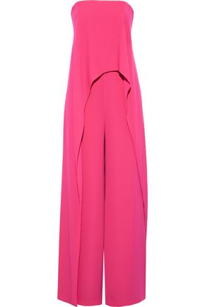 HALSTON Strapless layered crepe wide-leg jumpsuit