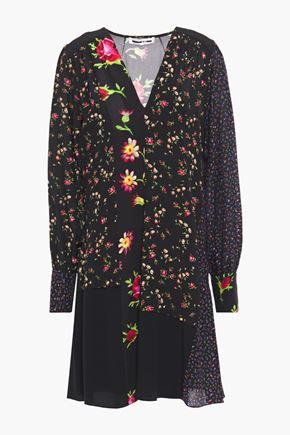 McQ Alexander McQueen Gathered patchwork-effect crepe de chine dress