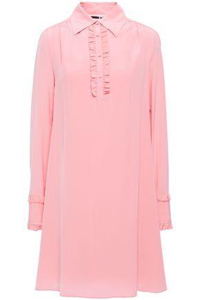 McQ Alexander McQueen Ruffle-trimmed silk crepe de chine mini dress