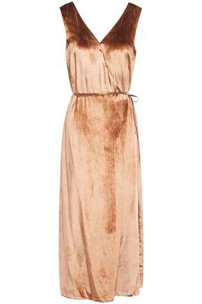 VINCE. فستان متوسط الطول وبتصميم ملتفّ من المخمل