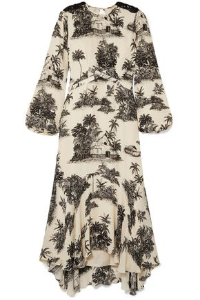 """JOHANNA ORTIZ فستان متوسط الطول """"نوستالجيا دل باسادو"""" غير متماثل من قماش كريب دي شين الحريري المطبع برسومات"""