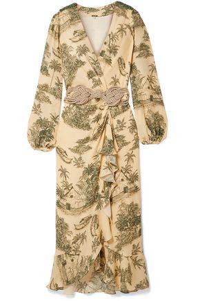 """JOHANNA ORTIZ فستان ملتف متوسط الطول """"آل سون دل تامبور"""" من الكريب الحريري المزين والمطبع برسومات مع كشكش"""