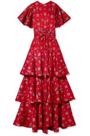 "JOHANNA ORTIZ فستان طويل ""ميديتاسيون دل ماس آيا"" بطبقات من قماش جورجيت المطبع برسومات"