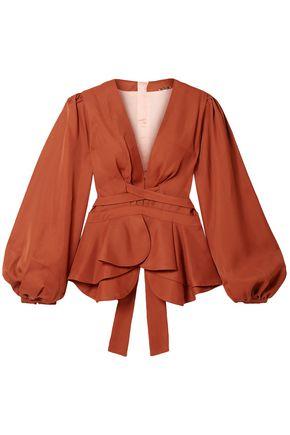 JOHANNA ORTIZ Coral De Nuqui tie-back twill peplum blouse