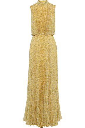 MIKAEL AGHAL فستان سهرة من الشيفون المجعد المطبع بالورود مع طيات