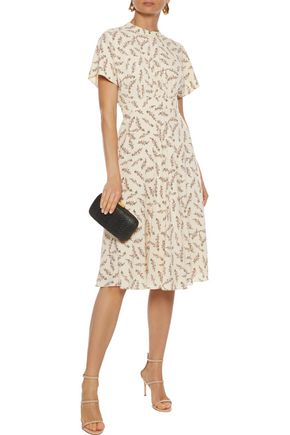 MIKAEL AGHAL Gathered floral-print crepe de chine dress