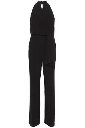 HALSTON Draped stretch-crepe jumpsuit
