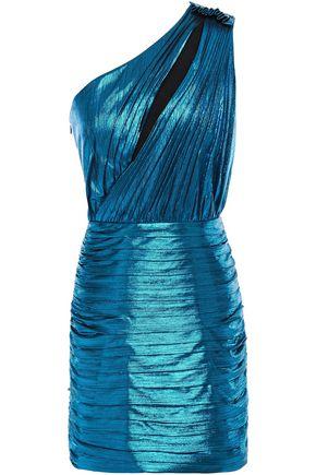 RETROFÊTE Cassia one-shoulder cutout lamé mini dress