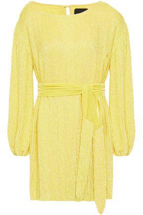 RETROFÊTE Grace velvet-trimmed sequined chiffon mini dress