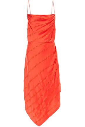 RETROFÊTE Lilly asymmetric crystal-embellished satin-crepe dress