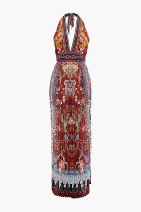 CAMILLA Costume Party embellished printed silk-georgette halterneck jumpsuit