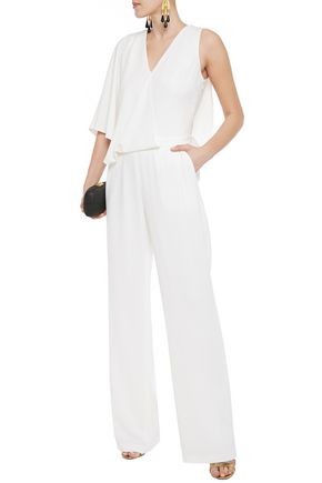 Halston Asymmetric Layered Satin-crepe Jumpsuit In Ivory