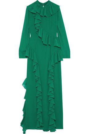 MIKAEL AGHAL فستان سهرة من قماش جورجيت المرن مع كشكش