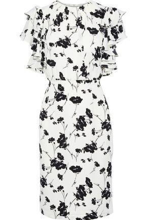 MIKAEL AGHAL فستان من قماش كريب دي شين المطبع بالورود مزين بالكشكش