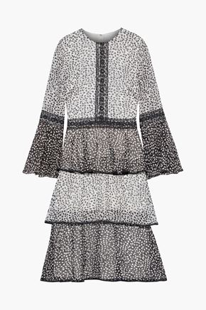 MIKAEL AGHAL Tiered lace-trimmed printed chiffon dress