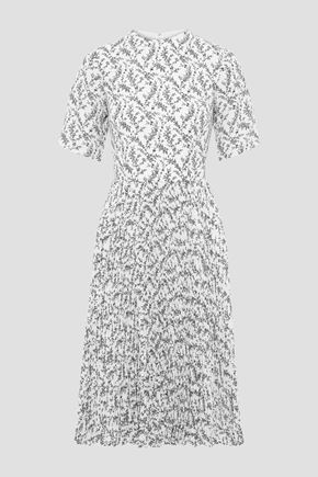 MIKAEL AGHAL Pleated floral-print crepe de chine dress