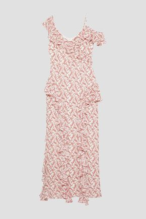 MIKAEL AGHAL Off-the-shoulder ruffled floral-print crepe gown