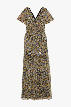 MIKAEL AGHAL Shirred floral-print georgette maxi dress