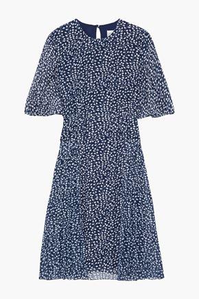 MIKAEL AGHAL Pleated printed georgette dress