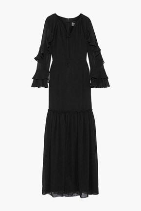 MIKAEL AGHAL فستان سهرة من الشيفون مزين بالكشكش مع أطراف واسعة