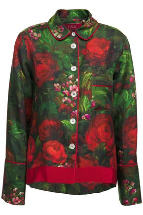 F.R.S. FOR RESTLESS SLEEPERS Agon grosgrain-trimmed floral-print silk-twill shirt