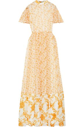 MIKAEL AGHAL Pleated floral-print chiffon maxi dress