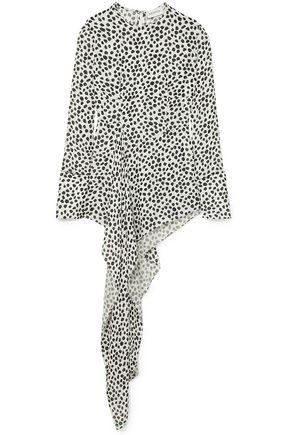 16ARLINGTON Asymmetric polka-dot georgette blouse