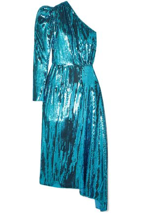 16ARLINGTON One-shoulder sequined chiffon midi dress