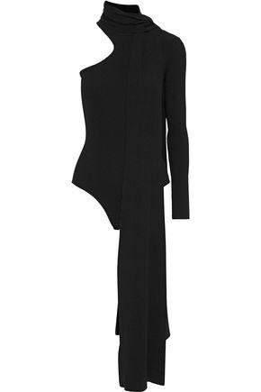 16ARLINGTON Lennon one-shoulder tie-neck ribbed-knit bodysuit