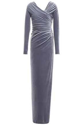 ALEXANDRE VAUTHIER Wrap-effect ruched stretch-velvet gown