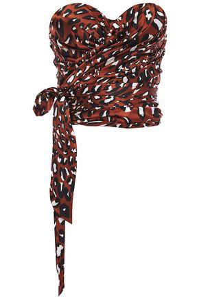 ALEXANDRE VAUTHIER Strapless draped leopard-print stretch-silk satin top