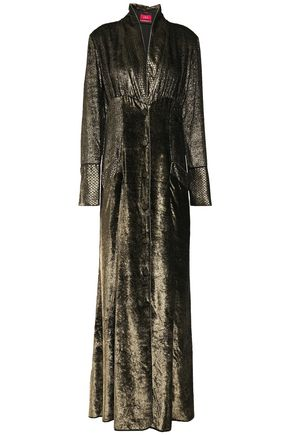 F.R.S. FOR RESTLESS SLEEPERS Dedalo gathered metallic velvet maxi dress