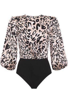 ALEXANDRE VAUTHIER Gathered leopard-print stretch-silk satin and stretch-jersey bodysuit