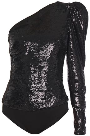 ALEXANDRE VAUTHIER One-shoulder sequined tulle and stretch-jersey bodysuit