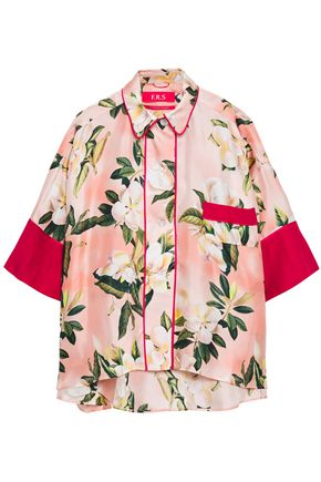 F.R.S. FOR RESTLESS SLEEPERS Satin-trimmed floral-print silk-twill shirt