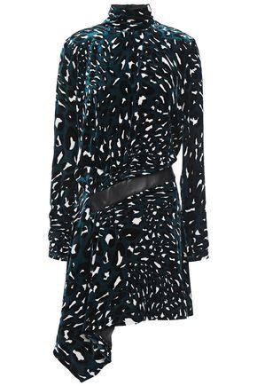 ALEXANDRE VAUTHIER Draped leather-trimmed printed velvet mini dress