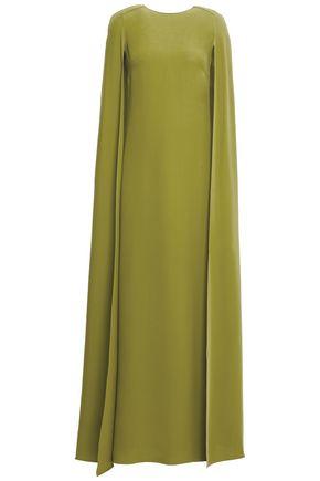 VALENTINO ケープバック シルククレープ ロングドレス