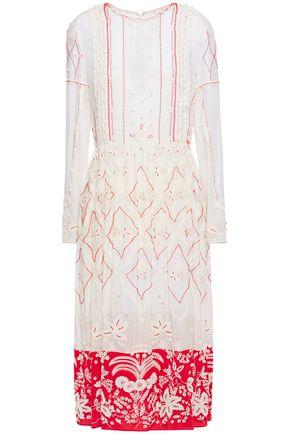 VALENTINO 装飾付き 刺繍入り コットン&シルク混 ミディワンピース