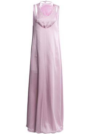 VALENTINO Layered hammered-satin and velvet gown