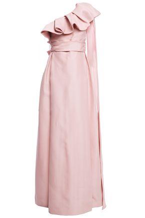 VALENTINO ワンショルダー ラッフル付き シルクガザル ロングドレス