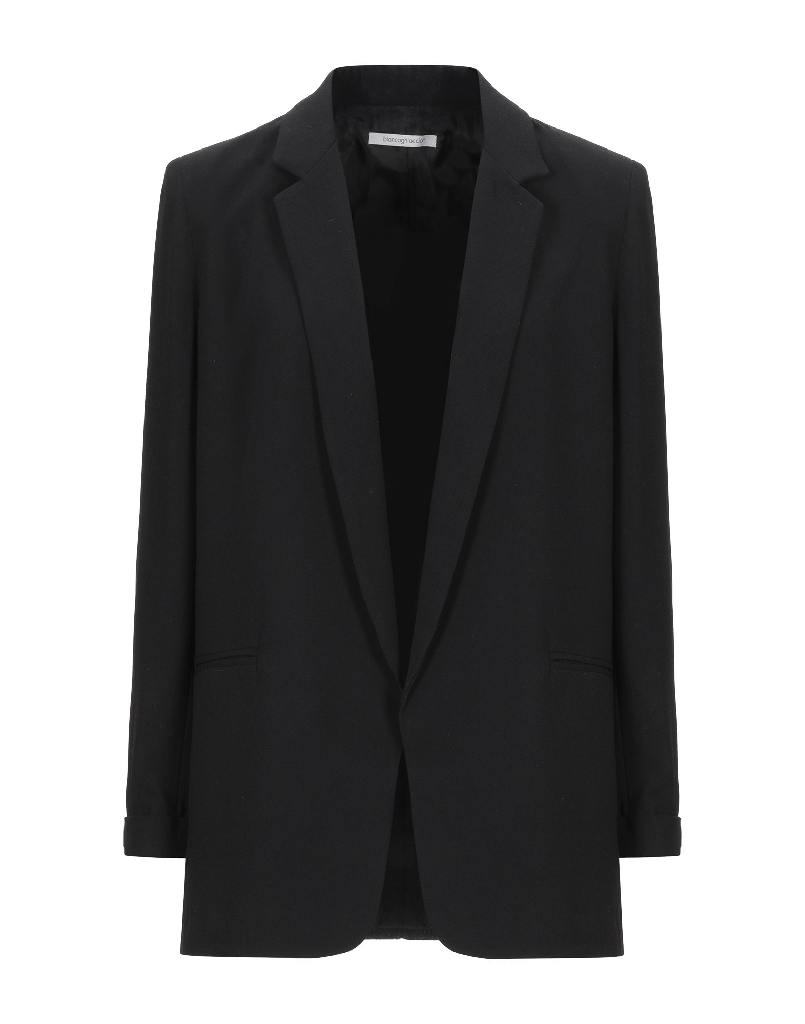 《セール開催中》BIANCOGHIACCIO レディース テーラードジャケット ブラック 46 ポリエステル 100%