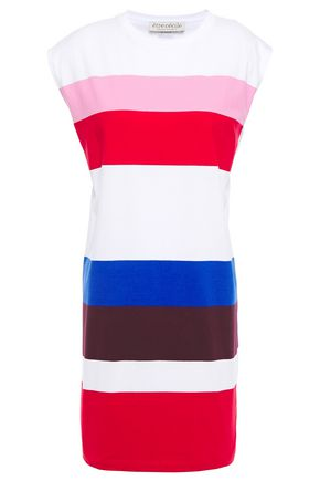 ÊTRE CÉCILE Printed striped cotton-jersey mini dress