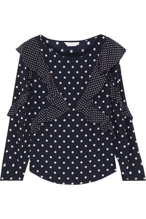 REBECCA TAYLOR Ruffled polka-dot silk crepe de chine blouse