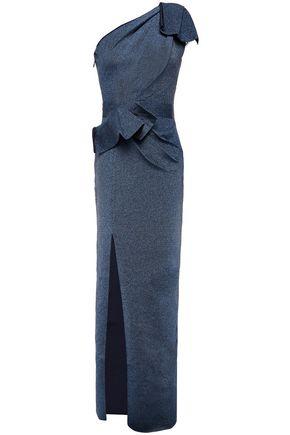 HERVÉ LÉGER فستان سهرة تريكو مكشوف الكتف لون ميتاليك مع ثنيات