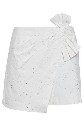 REBECCA TAYLOR Layered bow-embellished slub denim shorts