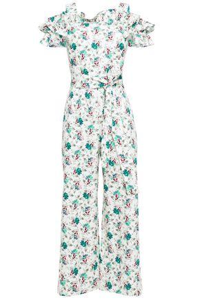 REBECCA TAYLOR Carnation cold-shoulder floral-print cotton and linen-blend jumpsuit