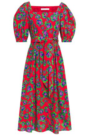BORGO DE NOR Corin belted floral-print cotton-poplin midi dress